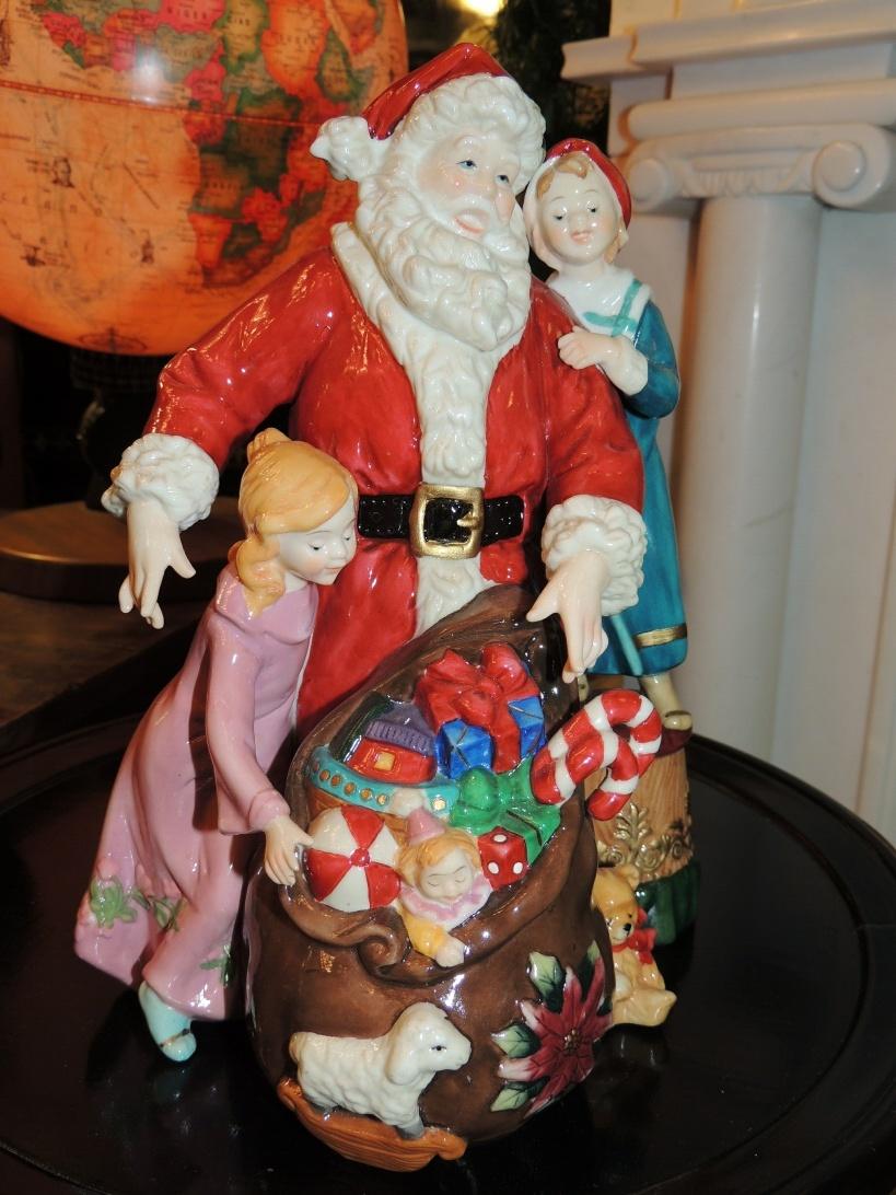 Lampade di Natale: Babbo Natale in Porcellana   Rossi