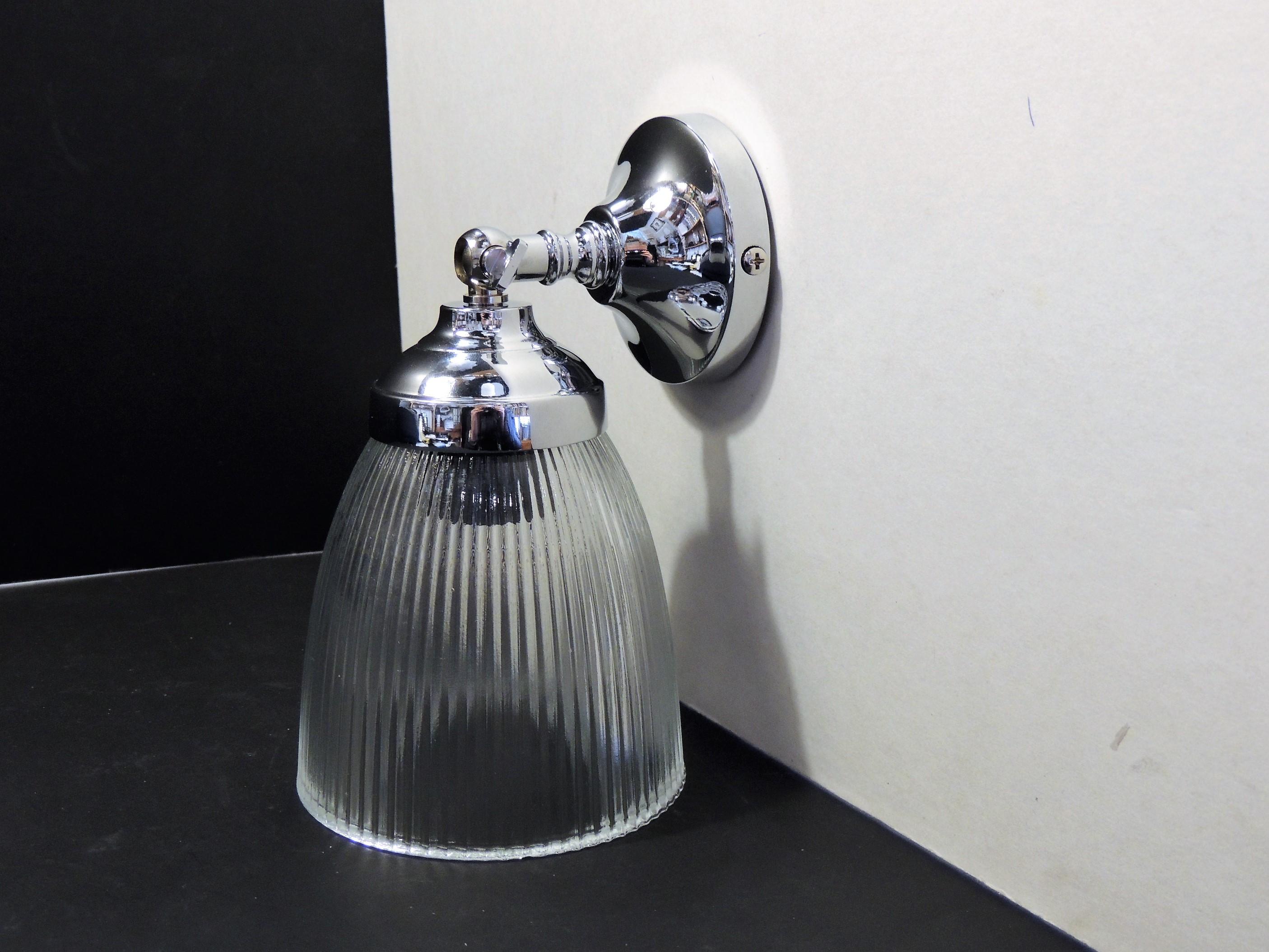 Lampade a parete : lampada a parete in ottone cromato e vetro